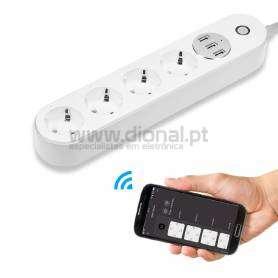 BLOCO DE TOMADA 2M WI-FI 4X1 + 3 PORTAS USB - ANDRIOD/IOS