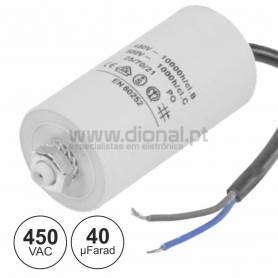 CONDENSADOR ARRANQUE 40uf 450V  C/ Fios