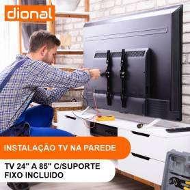 INSTALAÇÃO DE TV NA PAREDE - DE 24 A 85 POLEGADAS COM SUPORTE INCLUIDO FIXO