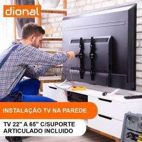 INSTALAÇÃO DE TV NA PAREDE - DE 22 A 65 POLEGADAS COM SUPORTE INCLUIDO ARTICULADO/BRAÇO