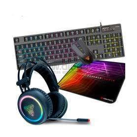 Kit Gaming Teclado + Rato + Auscultadores + Tapete